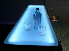 """Glass bar countertop. Shown in 1.5"""" glass with satin top finished surface. #glassart"""
