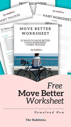 Start moving better today! 32 great ways to move better, and a step by step worksheet to help you start moving better - and a free printable habit tracker so you can see how well you are doing! Download these free resources today!
