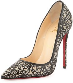 Christian Louboutin So Pretty Patent Glitter Red Sole Pump, Silver on shopstyle.com