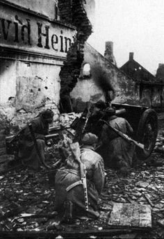 Soviet gunners positioned his cannon among the ruins of Berlin in April 1945.