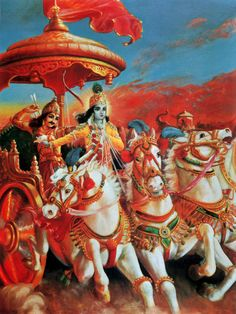 Bhagavad Gita Art Gallery--Plate Wherever there is Krishna and Arjuna there will certainly be opulence, victory, extraordinary power and morality. Krishna Book, Arte Krishna, Krishna Radha, Indian Gods, Indian Art, The Mahabharata, Srila Prabhupada, Lord Krishna Images, Bhagavad Gita