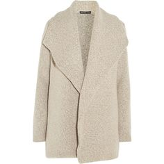 James Perse Wool-blend bouclé cardigan (€505) ❤ liked on Polyvore featuring outerwear, coats, jackets, cardigans, coats & jackets, brown, brown coat, pink coat, boucle coat and waterfall coat