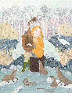 'Along the Waters Edge' by Rebecca Green. Find out more about Rebecca and see more of her wonderful art in her interview at wowxwow.com. (animals, birds, existence, human condition, illustration, illustrator, magic, narrative, nature, painting, story, storytelling, wildlife, contemporary art)