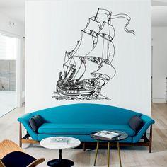 Vinilo decorativo de barco pirata.