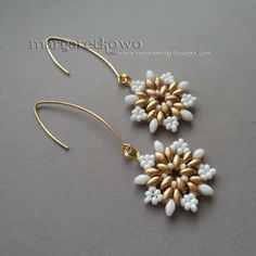 Twin Bead Earrings - shown in 2 different colors.