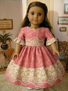 American Girl mid1800s gown with lace muted pink and by dolltimes,