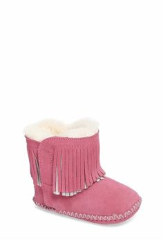 UGG Australia Baby Booties Girls Boots Pink Size 0/1 Infant Cowboy Suede  shoes