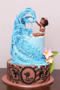 Beautiful Birthday Kids Cake, Disney Moana Cake and a Big Wave, Boy or Girl Birthday Cake - Pretty Cakes, Cute Cakes, Fancy Cakes, Bolo Moana, Elegante Desserts, Pinterest Cake, Dessert Party, Crazy Cakes, Novelty Cakes