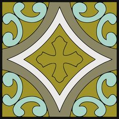 """Quadrafoil"" by Valeria Fireclay Tile Color It Custom Cuerda Seca Paint Tool"