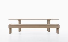 SONETTO3 - a table and bench created as part of the Convivio collection for Lando by Enzo Berti