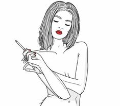 girl smoking drawing - Google Search
