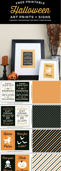Free Halloween Printables | Halloween Decor | Art Prints and signs | Orange and black printable art for Halloween | Halloween sayings and quotes. TodaysCreativeLife.com