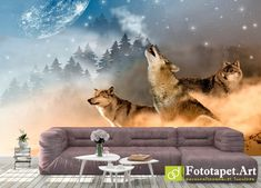 Photo wallpaper, Animals - Pack of wolves - All wallpapers shown on the site are printed on a firm order, according to the customer's size, the chosen image and the desired texture. Wallpaper Please, Any Images, Photo Wallpaper, Haiti, Ecology, Fresco, Latex, Wolf, Canvas