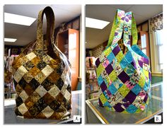 Which Mondo Bag gets your vote?    See what our FB fans thought about this match up!  https://www.facebook.com/photo.php?fbid=10150916776634267=10d4feb8e9    Watch our YouTube tutorial on using fusible grid!  https://www.youtube.com/watch?v=LwYxwbbKens=plcp    ::CREDITS::  A: Mondo Bag pattern by Quiltsmart. Fabric by various batik designers. Fabric still available at The Quilt Patch.  B: Mondo Bag pattern by Quiltsmart. Fabric still available at The Quilt Patch.