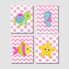 Baby Girl Nautical Ocean Sea Animals Chevron Turtle Seahorse Starfish Fish Set of 4 Prints Girl Nursery Crib Bathoom Wall Art Decor Picture