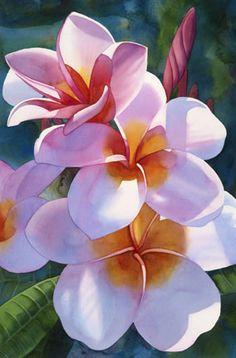 Plumeria III - by Kathleen Alexander ~Watercolor Tropical Art, Tropical Flowers, Hawaiin Flowers, Flower Pot Design, Flower Art, Plant Drawing, Painting & Drawing, Flores Plumeria, Watercolor Flowers