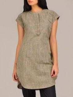 Green Khadi Short-Kurta - All About Short Kurti Designs, Kurta Designs Women, Salwar Designs, Dress Neck Designs, Blouse Designs, Kurti With Jeans, Kurtha Designs, Khadi Kurta, Kurta Patterns