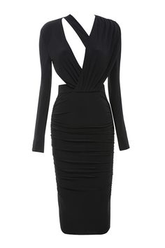 da2df129ff3 Clothing   Bodycon Dresses    Nicolina  Black Draped Silky Jersey Cut Out  Dress House