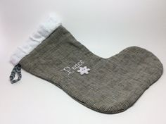 PEACE Linen Christmas Stocking with Embroidery and by RBQuery