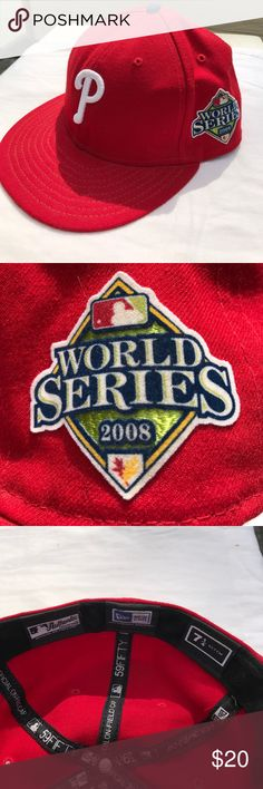 Philadelphia Phillies World Series Fitted Flatbill Authentic MLB Phillies World Series 2008 Edition Fitted Flatbill- size 7 1/4.  This hat is in great condition! Perfect for any fan. Accessories Hats