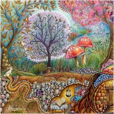 One More Double Page Completed Three Months Of Work Colored Peacefully Without Haste Or Anxiety My Favorite Books Johanna Basfords Enchanted