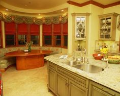 Red Kitchen Color Theme and Mediterranean Decorating Style - Banquette, Kitchen, Cooper Pacific Kitchens, Granite Counter Top & Custom Table and Banquette Kitchen Color Themes, Built In Seating, Decor, Kitchen Design, Kitchen Booths, Mediterranean Decor, Mediterranean Kitchen, Decor Styles, Kitchen Window Treatments