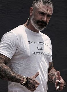 Embrace your age and who you are as a man. With age comes experience and with experience comes success. Tall Silver and Handsome Tee made in the USA. Gorgeous Men, Beautiful People, Daniel Sheehan, Outfits Hombre, Hommes Sexy, Mature Men, Older Men, Good Looking Men, Beard Styles