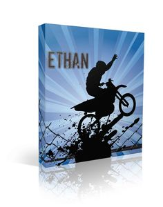 Love this. Grunge, silhouette with a boy dirt biking and blue background in sunshine rays.custom named canvas art!