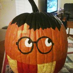 My Harry Potter Pumpkin. I pinned this idea last month and couldn't wait to recreate it. I used matte acrylic paint found at Walmart.