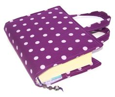 A lovely padded fabric book cover in a Echino linen - PURPLE PLUM POLKA DOTS with lilac. Features 2 semi-precious amethyst beads on the bookmark. Perfect gift for book lovers. Binder Covers, Notebook Covers, Fabric Book Covers, Beaded Bookmarks, Popular Crafts, Purple Bags, Book Lovers Gifts, Deep Purple, Valentine Gifts
