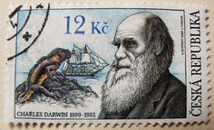 great stamp Czechia Ceska 12 Kc (Charles Darwin 1809-1882, natural scientist, theory of evolution); & (marine iguana, Meerechse Amblyrhynchus cristatus)