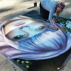 @jessiqueenart rocked it today at #chiahaharvestfair #gachalkartists #chalkart #sidewalkchalkfestival #chiaha