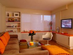 Coral and Other Shades of Orange In a Living Room
