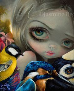 Birdsong 1 art by Jasmine Becket-Griffith new contemporary art by strangeling - big eyed art, birds, kingfisher, pop surrealism paintings by Jasmine Becket Surrealism Painting, Pop Surrealism, Seattle, Fairy Pictures, Witch Pictures, Moon Pictures, Animal Art Prints, Illustrations, Fairy Art