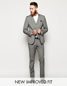 Enlarge ASOS Slim Fit Suit Grey Pindot