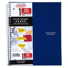 FiveStar 100ct 1-Subject Wide Ruled Notebook Assorted Colors
