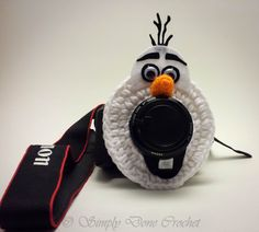Olaf Inspired Handmade Crocheted Camera lens by SimplyDoneCrochet