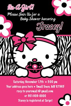 hello kitty baby shower | Hello Kitty Zebra Print Printable Baby Shower Party Invitation GIRL1ST ...