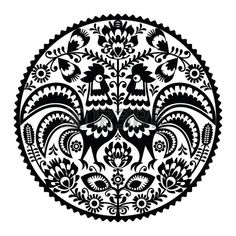 Polski kwiatowy haft z koguty - monochromatyczny tradycyjny wzór folk