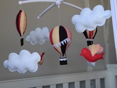 Baby girls musical mobile. Hot air balloons, clouds and birds rotating musical crib mobile. Ready to ship.
