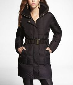 Figure-flattering warmth! BELTED PUFFER COAT at Express $178