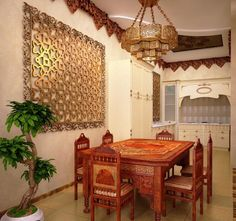 Unique Moroccan design ideas for dining room, carved wood and forged metal Moroccan decorations