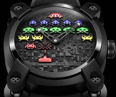The Space Invaders wrist watch is a clear gift idea for the rich and successful geek who has it all. Available in very limited numbers, this luxuriously high end watch features the geeky styling from the nostalgic Space Invaders game, and is available in several color styles.