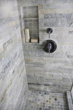 Island Stone Himachal White Strip Tile Bath - modern - bathroom tile - other metro - Island Stone