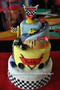 Homemade Cars Birthday Cake: I made this Cars Birthday Cake for my son's third birthday. I am a stay at home mom who enjoys baking as a hobby. This cake is three tiers with three layers