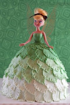 sugarveil and fondant barbie doll dress | Tink wasn't enough cake for all the guests, so I layered her on a 10 ...