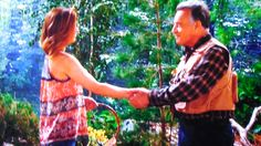 """Phyllis meets a new friend, """"Fred""""...(wicked Ian Ward) in the woods."""