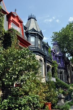 Houses overlooking St. Louis Square, Montreal, Canada