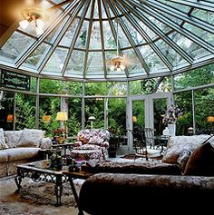 Sunroom Decorating and Design Ideas. Get inspired with clever layout and pretty fabrics, furniture, and accents to transform your sunroom into the most-used room in your house. Tags: sunroom design ideas, sunroom furniture, floor to ceiling windows Sala Tropical, Victorian Conservatory, Conservatory House, Conservatory Interiors, Gazebo, Wooden Greenhouses, Sunroom Decorating, Sunroom Ideas, Decorating Ideas