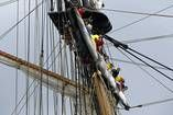 The crew of the Niagara rides the sails as they arrive at Navy Pier during the Tall Ships Parade of Sail. — Brian Cassella, Chicago Tribune, Aug. 7, 2013